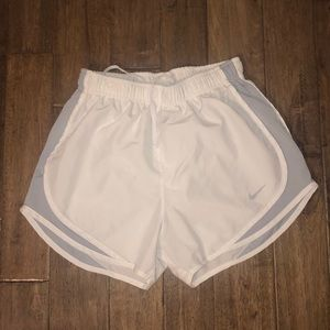 Nike white and grey running shorts